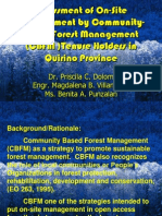 Assessment of on-site management by Community-Based Forest Management (CBFM) tenure holders in Quirino Province