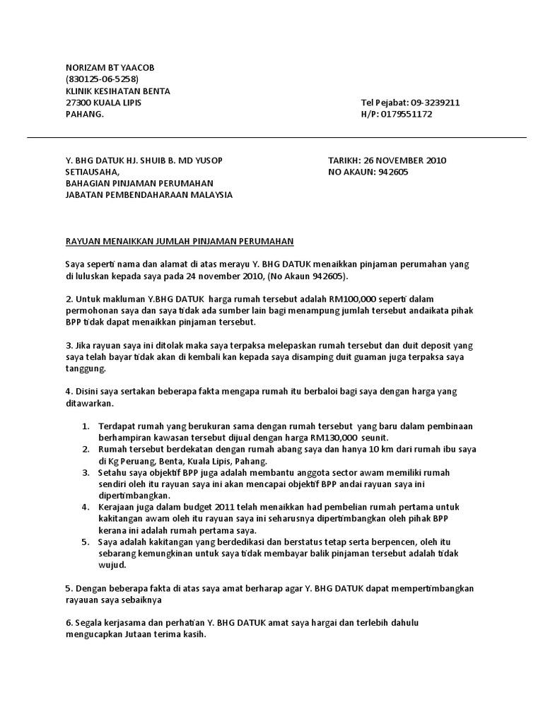 Surat Rayuan Pinjaman Rumah