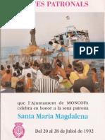 1992 ROGRAMA FIESTAS STA. M. MAGDALENA, MONCOFA 1992, Pepe Franch