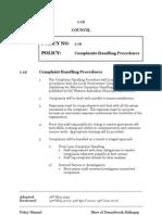 1.12 Complaints Handling Procedures