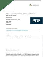 L'évaluation de Politique - Contrôle externe de la gestion politique