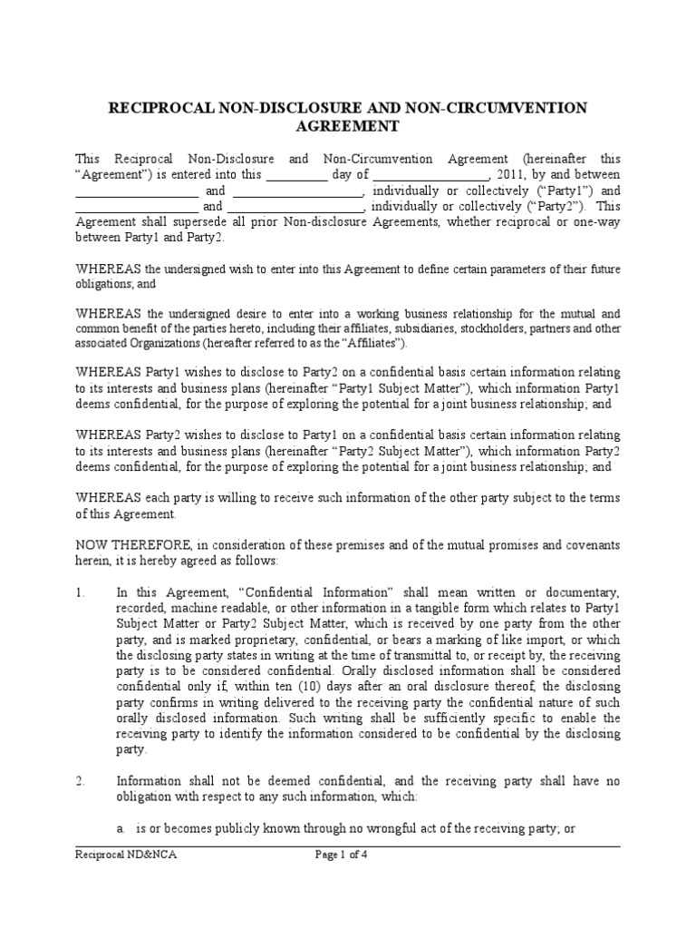 Ndnca 2011 Reciprocal Blank Non Disclosure Agreement