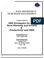 HRD Strategies for Longterm Planning Growth and Productivity and HRM