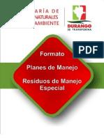 Formato de Plan de Manejo de Residuos Especiales Durango