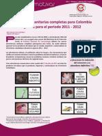 Hoja informativa II (Advertencias sanitarias completas para Colombia vigentes para el periodo 2011-2012
