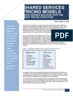 Shared Services Pricing Models - Drive Desired Behavior With the Right Pricing Structure