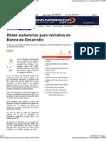22-04-11 Abren Audiencias Para Iniciativa de Banca de Desarrollo