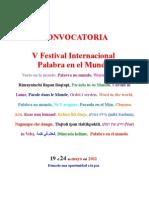 Convocatoria v Festival Palabra en El Mundo Actualizada