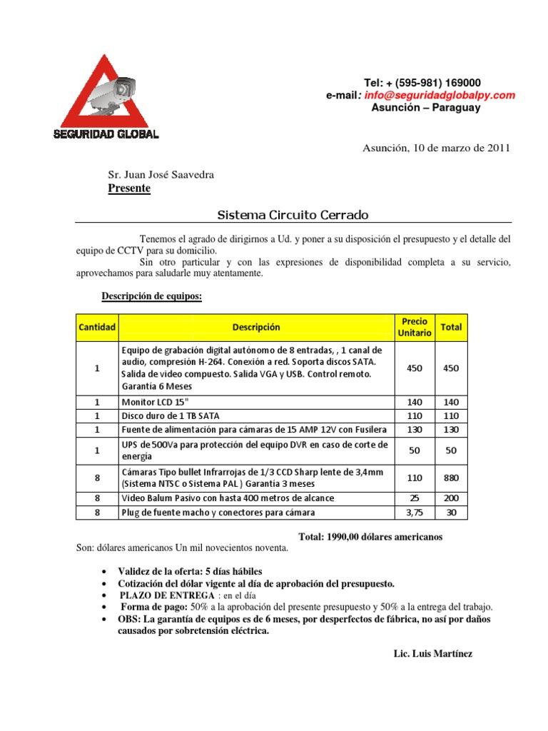 Presupuesto cctv for Ejemplo de presupuesto instalacion geotermica chalet