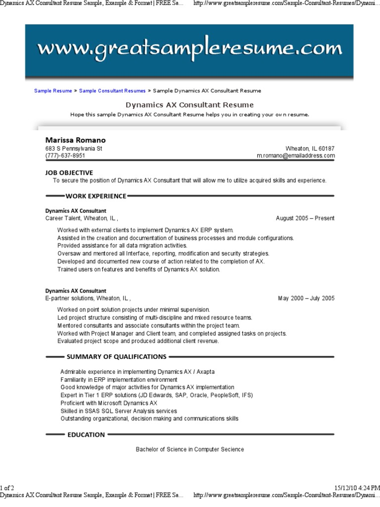 dynamics ax consultant resume sample example format _ free sample resume for dynamics ax consultant enterprise resource planning information - People Soft Consultant Resume