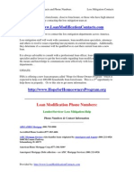 Loan Modification/Loss Mitigation Contacts and Phone Numbers List
