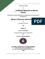 Analysis of Market Reaction to Bonus Issues-Sneha D-04107