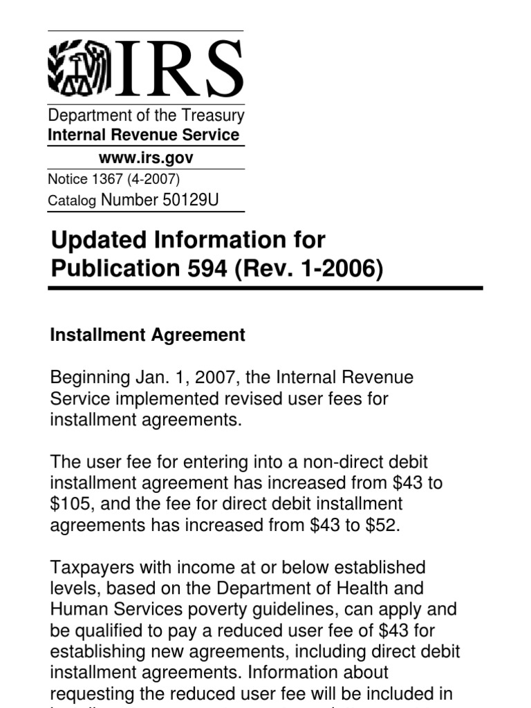 Us Internal Revenue Service N1367 Taxation Payments