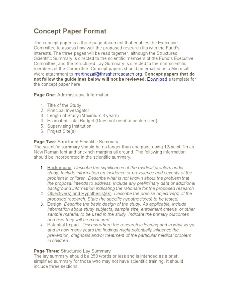 sample concept paper for funding