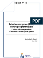 Achats en urgence (AUO) contre programmation. L'efficacité des opérations d'armement en temps de guerre