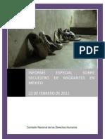 Informe especial de la CNDH sobre secuestro de migrantes 2011