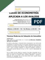Curso de Econometría (Inferencia Estadistica) en medellín para la Valoración de Bienes Inmuebles