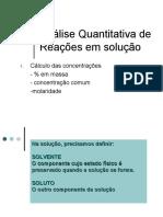 AnAlise Quantitativa ReaCOes Em SoluCAo