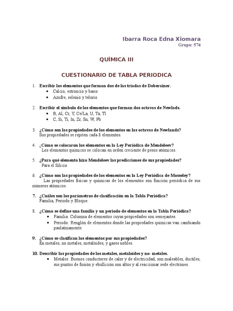 Cuestionario de la tabla periodica cuestionario de la tabla periodica urtaz Choice Image
