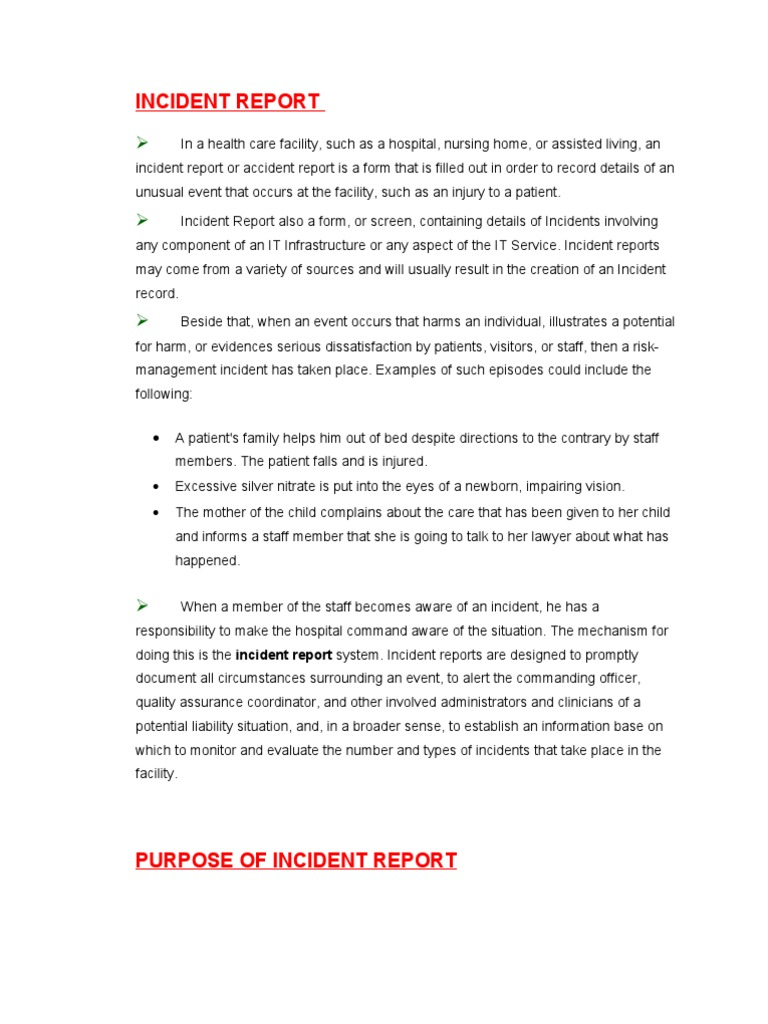Incident Report (Soft Copy) | Nursing Home Care | Patient