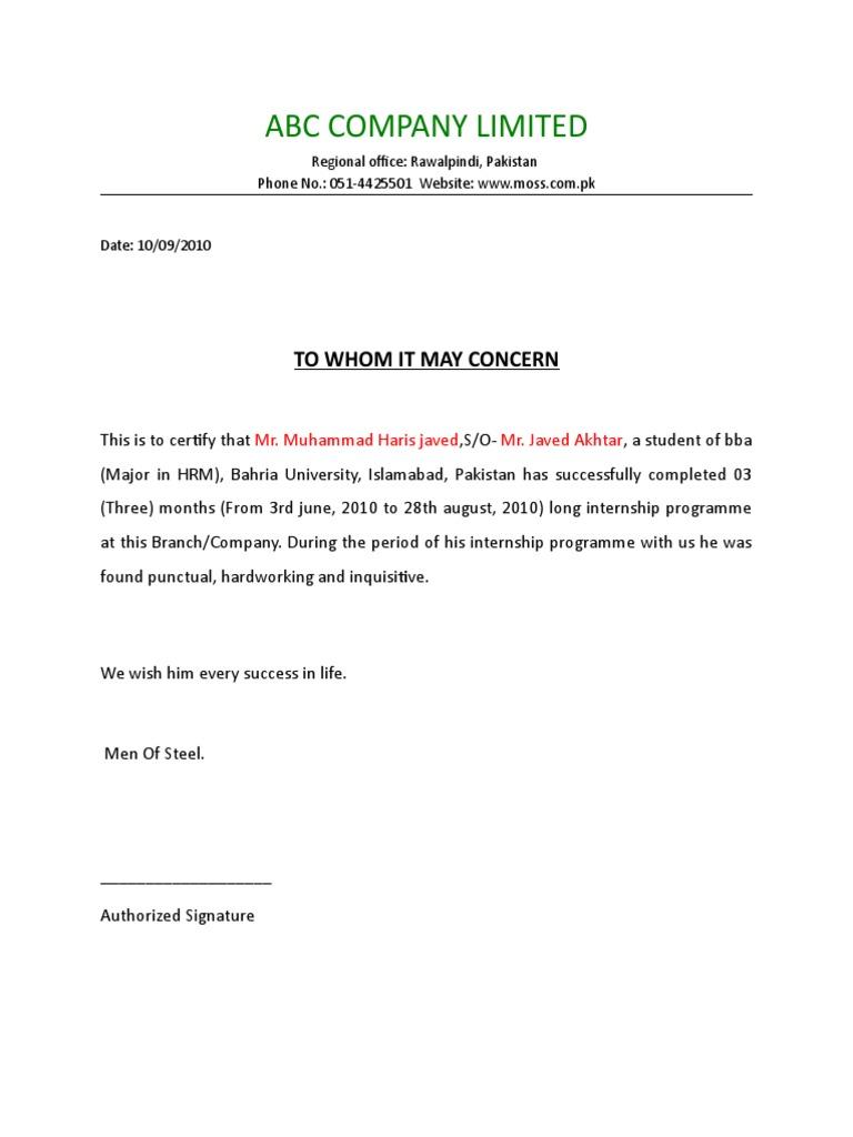 Summer Internship Completion Certificate Format Sample