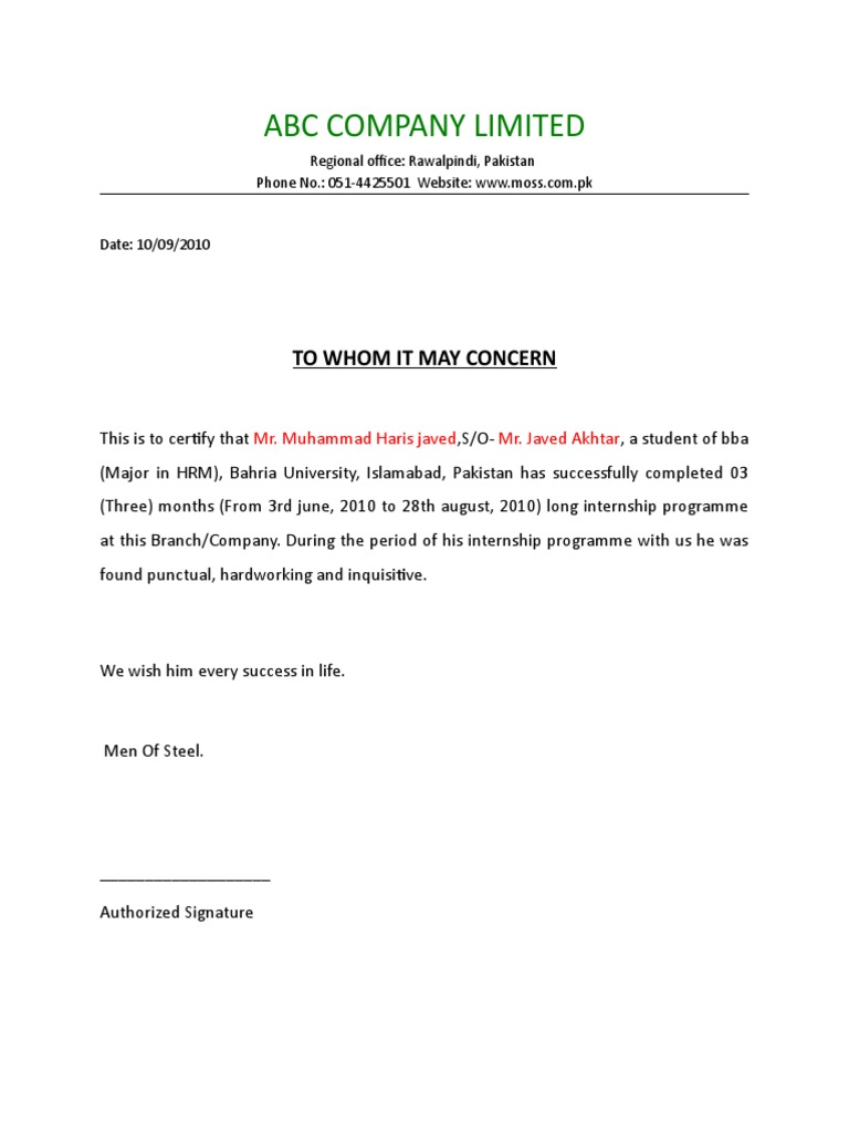 Letter format for internship choice image letter format formal example letter of internship format gallery letter format formal example thecheapjerseys Choice Image