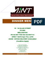The Mint Dinner Menu