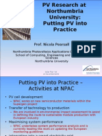 Session 5 - PV Research at Northumbria University Putting PV Into Practice Presented by Nicola Pearsall