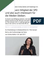 2011-04-26 SPD-Generalsekretaerin teilt Niederlage gegen Sarrazin mit