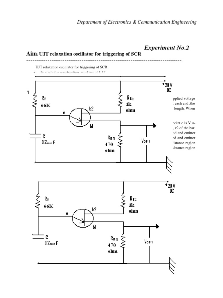 Ujt Characteristics Electrical Resistance And Conductance Scr Triggering Using Components