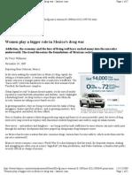 Women Play a Bigger Role in Mexico's Drug War. LA Times, Nov 10, 2009