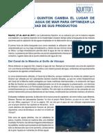 Terapia Marina con Agua de Mar obtenida del Golfo de Vizcaya - Laboratorios Quinton cambia el lugar de recogida del Agua de Mar para optimizar la calidad de sus productos