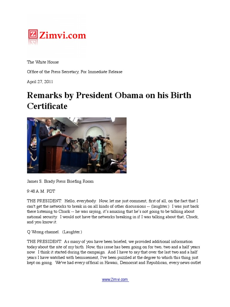Remarks by president obama on his birth certificate politics remarks by president obama on his birth certificate politics politics general aiddatafo Gallery