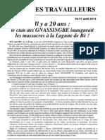 Il y a 20 Ans - Le Clan Des GNASSINGBE it Les Massacres a La Lagune de Be