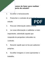 Passos a Dar Para Um Projecto de Estudo[1]