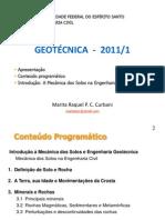 2011-01 - Geotécnica - AULA 1 - Conteúdo programático e introdução