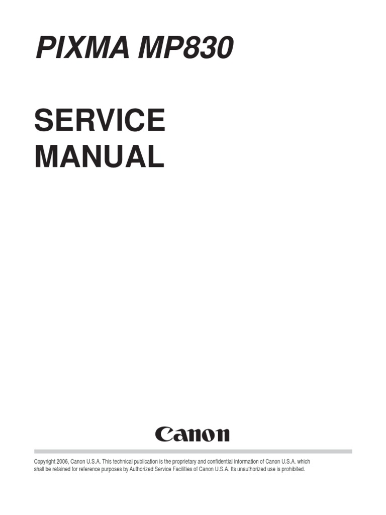 canon pixma mp830 service manual printer computing fax rh scribd com canon mp830 service manual download Corvette Owners Manual
