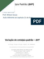Variação de entalpia padrão – ΔHº
