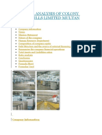 Financial Analysis of Colony Textile Mills Limited Multan