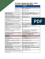 PGP Academic Calendar for 2011-12