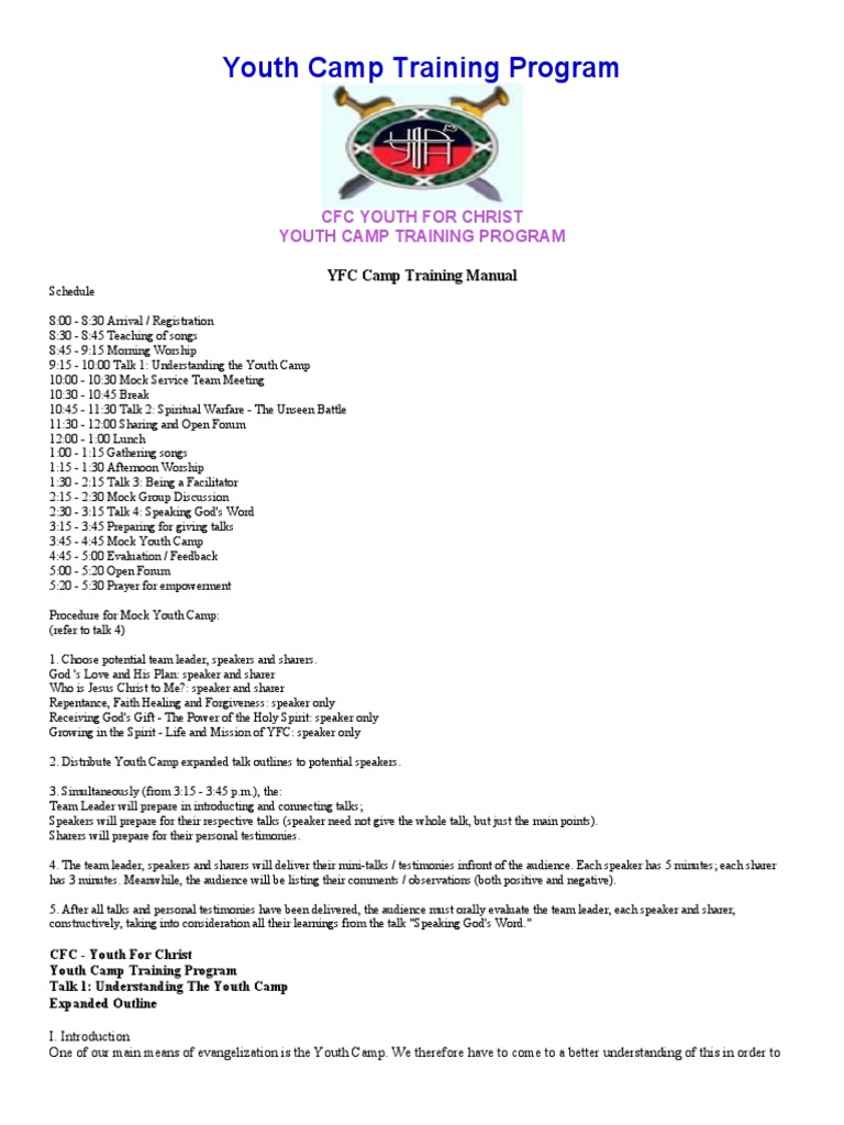 Yfc camp training manual prayer baptism stopboris Images