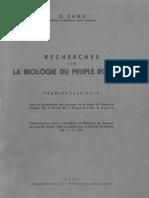 Banu G., Recherches Sur La Biologie Du Peuple Roumain Vol. I, 1947