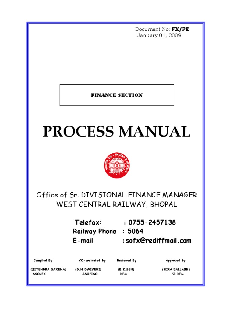 railway accounts process manuals expense money