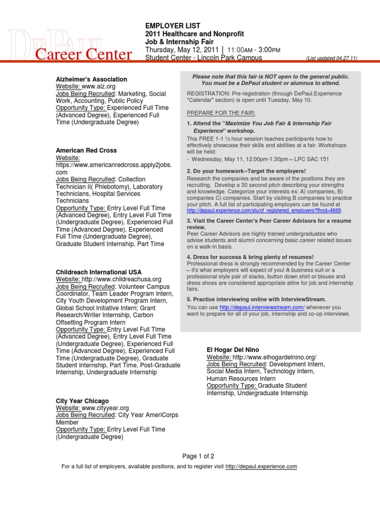 EMPLOYER LIST 2011 Healthcare and Nonprofit Job & Internship