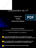 Questionário de LP- Tema Descontinuidades.show do milhão