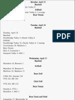 Sports Schedule April 25-30