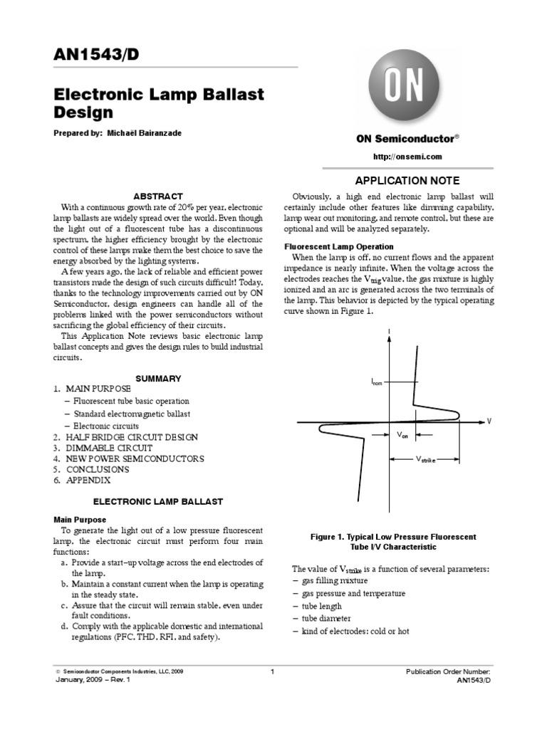 An1543 D Fluorescent Lamp Vacuum Tube Circuit Diagram