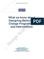 What We Know About Changing Behaviour