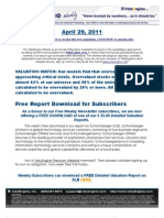ValuEngine Weekly newsletter April 29, 2011