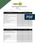 Training Needs Checklist